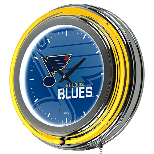 (Trademark Gameroom NHL1400-SLB-WM NHL Chrome Double Rung Neon Clock - Watermark - St. Louis)