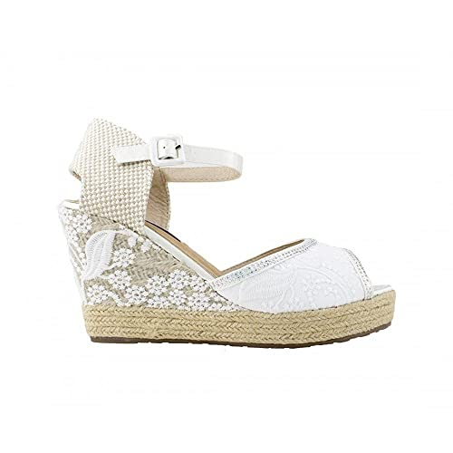 Cuña de Esparto Brillo Novia Blanco - Benavente: Amazon.es: Zapatos y complementos