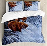 Ambesonne Africa Duvet Cover Set King Size, Grizzly Bears Fishing in the River Waterfalls Cascade in Alaska Nature Camp View, Decorative 3 Piece Bedding Set with 2 Pillow Shams, Brown White