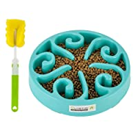 Slowton Pet Slow Feeder Bowl, Non Toxic Bloat Stop Interactive Dog Feed Water Bowl...