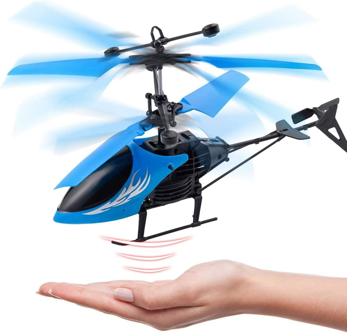 Blue One Key take Off//Landing VEZARON RC Helicopter USB Remote Control Helicopter Kids Toy 2CH Gyro Helicopter RC Drone for Indoor to Fly for Kids and Beginner