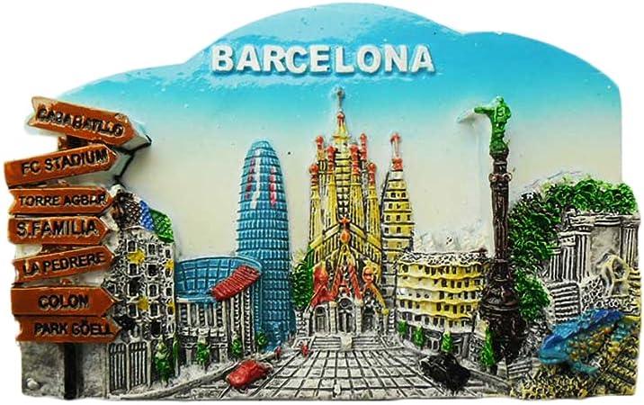 WedareDai 3D Barcelona España Imán de Nevera de Viaje, Adhesivo de Recuerdo de España, Hecho a Mano, decoración para el hogar y la Cocina, imán para Nevera