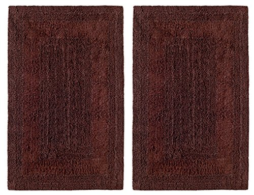 Cotton Craft 2 Piece Reversible Step Out Bath Mat Rug Set 17x24 Chocolate, 100% Pure Cotton, Super Soft, Plush & Absorbent, Hand Tufted Heavy Weight Construction, Full Reversible, Rug Pad Recommended