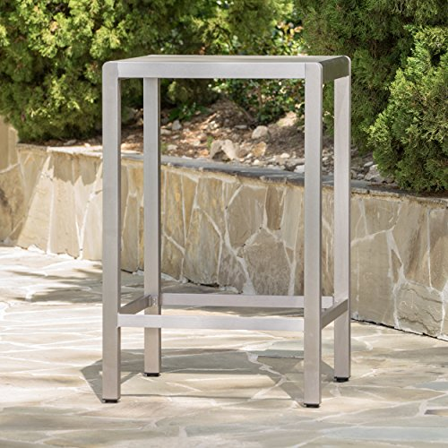 Christopher Knight Home Capral Outdoor Grey Alumnimum Bar Table with Glass Top