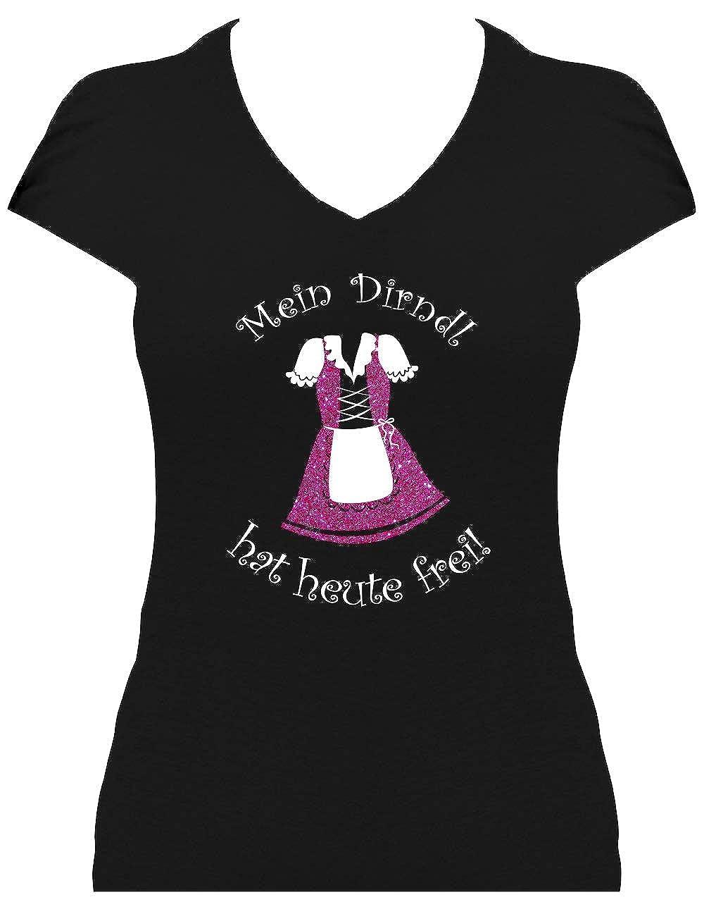 BlingelingShirts Elegantes Shirt Damen Glitzeraufdruck Oktoberfest Wiesn Mein Dirndl ist in der Wäsche pink PR-DAn-7500088001