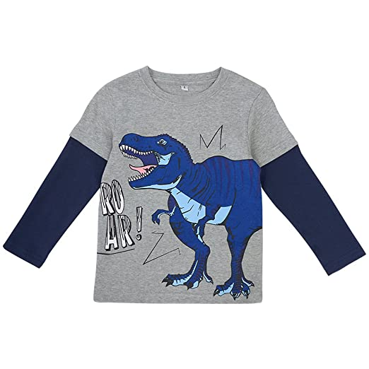 537038c3589b8 Enfants Chéris Little Kids Cotton Crewneck Tee Shirt Toddler Boys Long  Sleeve Dinosaur Pattern Tops