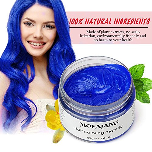 Mofajang Washable Temporary Hair Color Creme, Natural Hairstyle Color Pomade, Instant Hair Wax Dye Styling Cream Mud, Hair Pomades for Party, Cosplay, Nightclub, Masquerade, Halloween (Blue)