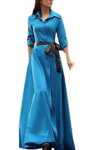 Vestidos Mujer Largos Elegante Primavera Otoño Manga Larga Vestido De Solapa Sencillos Especial Un Solo Pecho Vestidos Maxi Unicolor Moda Slim Fit Fit ...