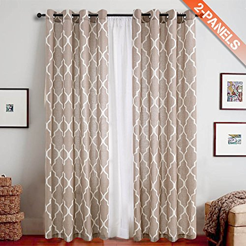 Print Curtains 95 inch Moroccan Tile Flax Linen Look Curtain Quatrefoil Grommet Lattice Window Treatment Set for Living Room - (Taupe, Set of 2 Panels)