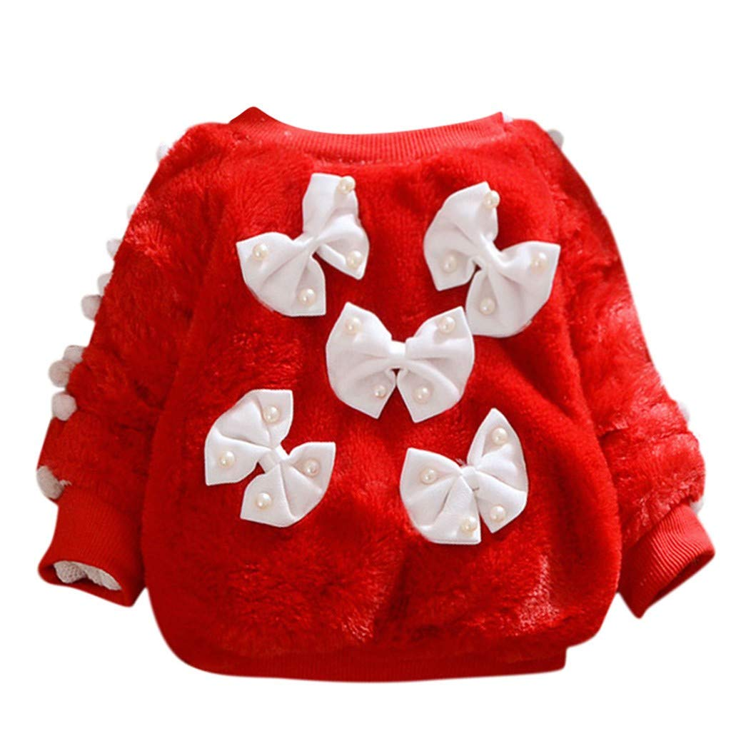 Bow Pearl Sweater, G-Real Baby Kids Girls Long Sleeves Cute Cartoon Warm Bowknot Villus Coat Outfits