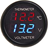 BlueBeach® 2 in 1 Digital LED voltmetro tester + Termometro