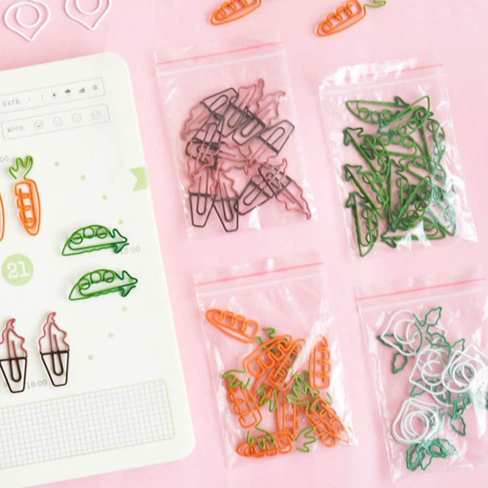Healifty 10 PCS Paper Clips Creative Cute Cartoon Shape Metal Paper Clip for Bookmark Office School Notebook Agenda Pad Carrot
