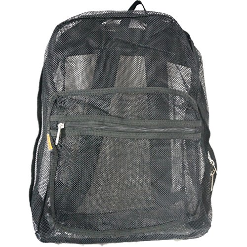 - Mesh Backpack See through Student Bookbag Classic School Book Bag Net Daypack Security Check Simple Backpacks Transparent Basic Students Schoolbag Red Black