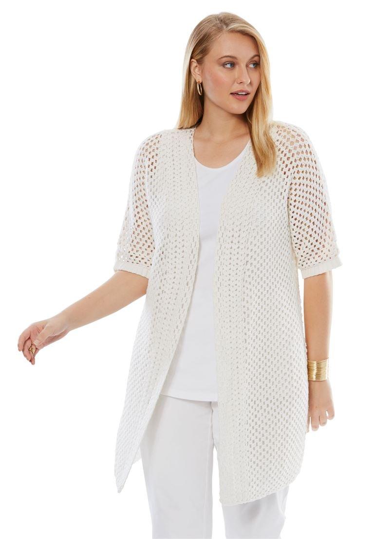 Jessica London Women's Plus Size Crochet Duster Sweater White,14/16