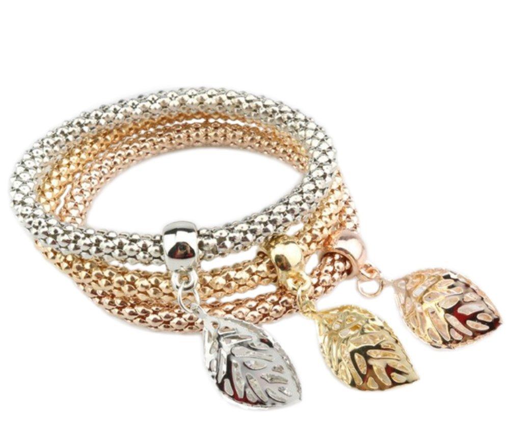 Hosaire 3Pcs/Lot Femme Bracelet Elegent Cube géométrique de Forme Trois Couches de chaîne épaisse éclat Strass Bijoux Cadeau de l'amour (Type-6)