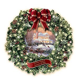 Thomas Kinkade Seasons Of Joy Indoor Christmas Wreath by The Bradford Exchange