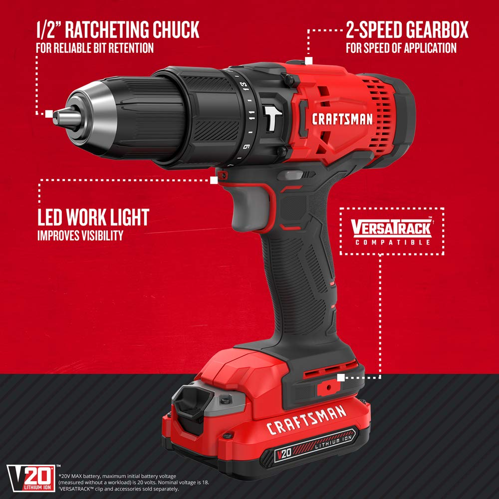 CRAFTSMAN V20 Cordless Hammer Drill Kit (CMCD711C2)