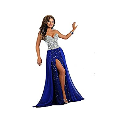 Chady Womens Strapless Crystal Beaded Long Royal Blue Prom Dresses 2017 Long Evening Gowns Prom Dresses