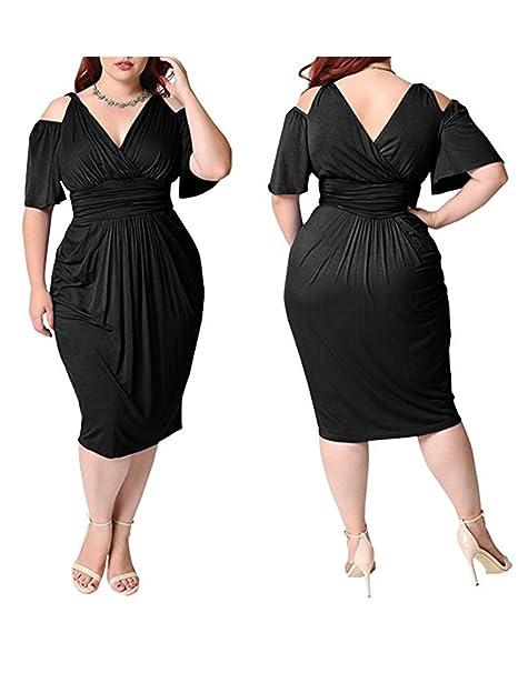 Flovey Womens Plus Size V Neck Cold Shoulder Short Sleeve Ruched