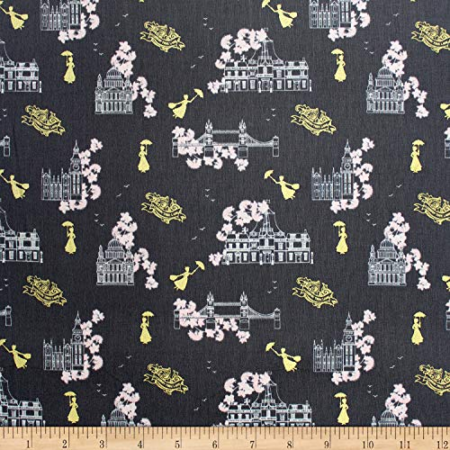 Camelot Fabrics Mary Poppins Toile Grey Metallic Fabric Fabric by the Yard