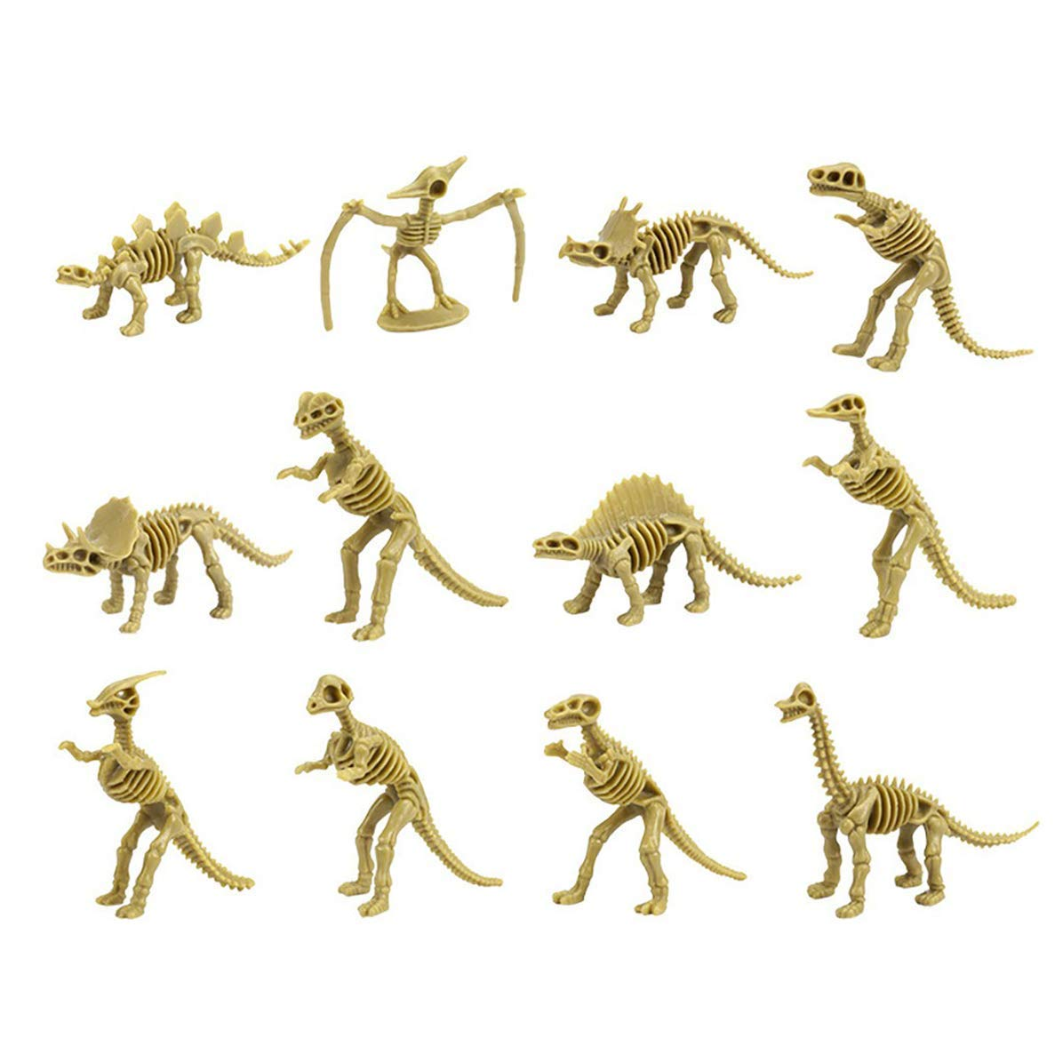 Party 6 to 7 Inch Figures -12 Pieces Girls for Kids Kicko Assorted Dinosaur Fossil Skeleton 3D Toys Boys and Prizes Pretend Play Time Games
