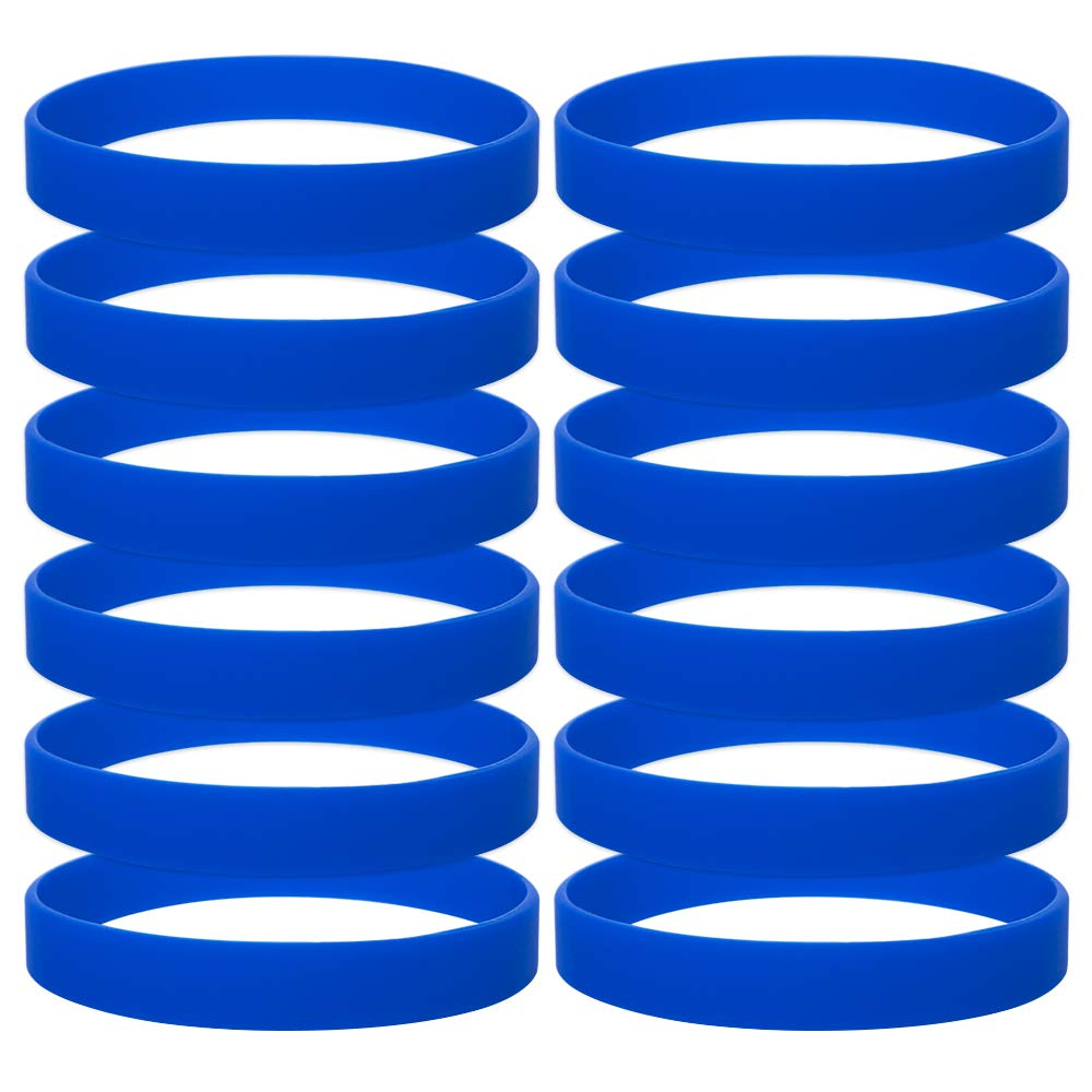 GOGO 12 PCS Silicone Wristbands for Kids, Rubber Bracelets, Party Favors-RoyalBlue
