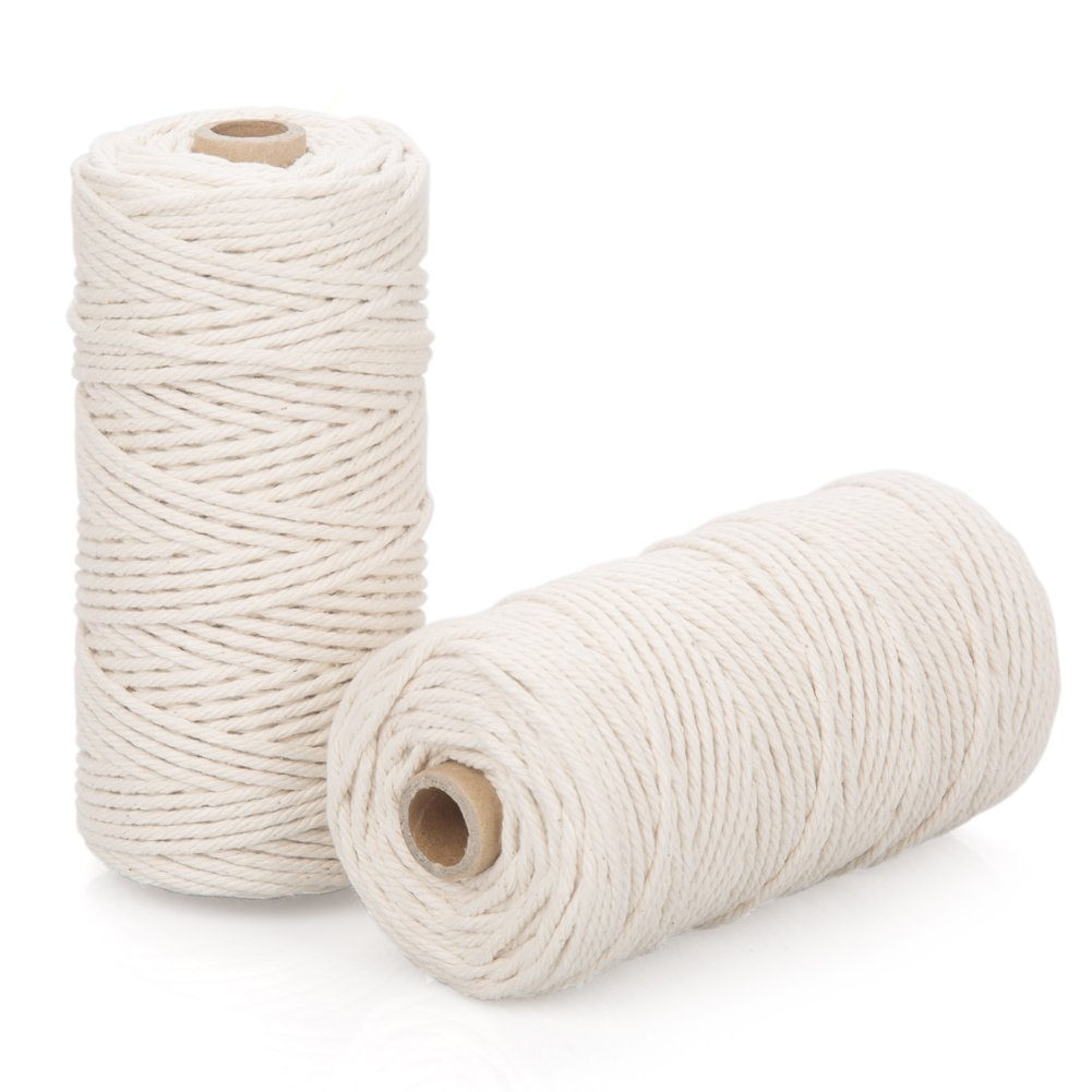 Macrame Supplies 3mm Cotton Cords - Pack of 2 Universal Use DIY Macrame Wall Art Hanging Plant Hanger Rope Twine String (Beige)