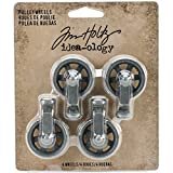 Tim Holtz Mini Pulley Wheels by Idea-ology, Antique Nickel Finish, Approximately 1 x 1.5 Inches, 4 Wheels, (TH93580)