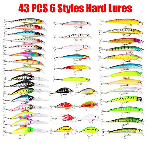Juemenzhe Hard Fishing Lure Set 43 Pcs 6 Styles Bass Fishing Lure Kit Colorful Minnow Popper Crank Rattlin VIB for Saltwater or Freshwater Running Depth 1-4 feet