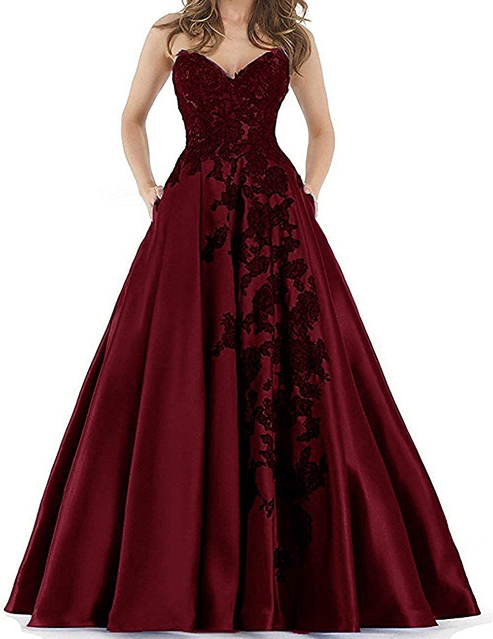 Burgundy JAEDEN Prom Dresses Long Quinceanera Dress Ball Gown Formal Evening Gowns Sweetheart Prom Dress