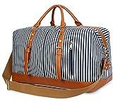 BLUBOON Weekender Overnight Bag Travel Women Ladies Canvas Duffle Tote Bags PU Trim (Blue stripe)