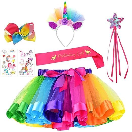 529c65cb31868 Unicorn Rainbow Tutu Skirt Headband Fairy Wand Birthday Satin Sash Rainbow  Hairbow Tattoo Stickers 7 PCs