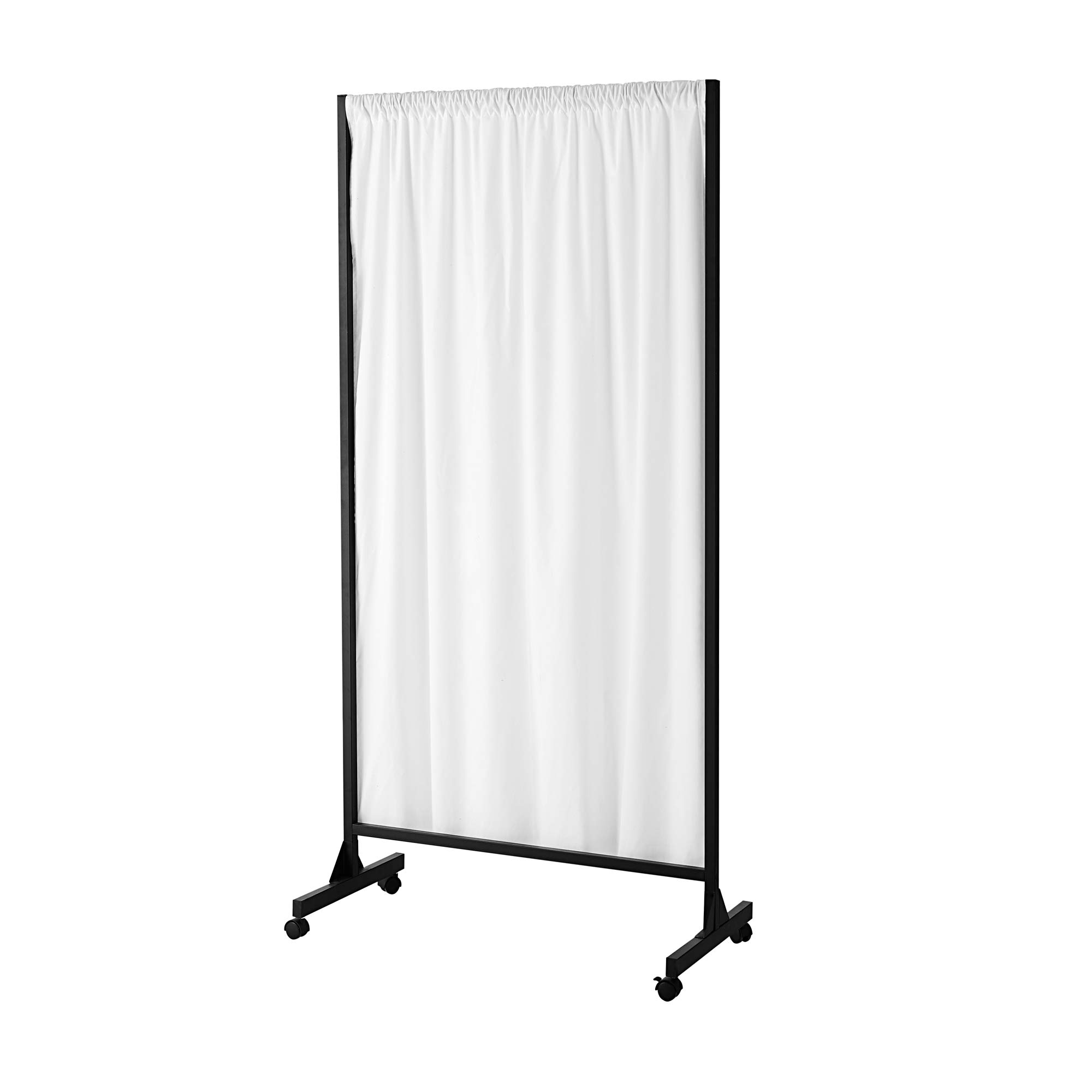 Don't Look at Me - Partial Room Divider - Black Frame with Farmhouse White Cotton Fabric