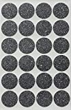 BLACK Sparkly Color Coding Labels 1'' Glitter Rounds 25 mm - Dot Stickers -- one inch circle sticker - 360 pack