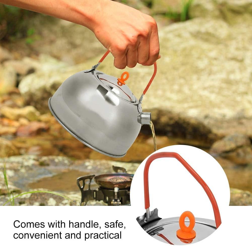 600 ML Durable En Acier Inoxydable Bouilloire Th/é Pot pour Camping P/êche En Plein Air Bouilloire