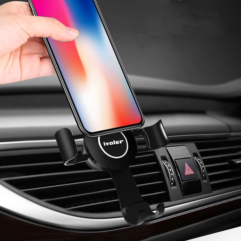 Gold, Arm Version Car Phone Holder,Gravity Air Vent U-Shape Pattern Auto-Locking Cell Phone Mount Holder with Gravity Sensor Design for 4-6 inches Device Rotate 360 Degrees