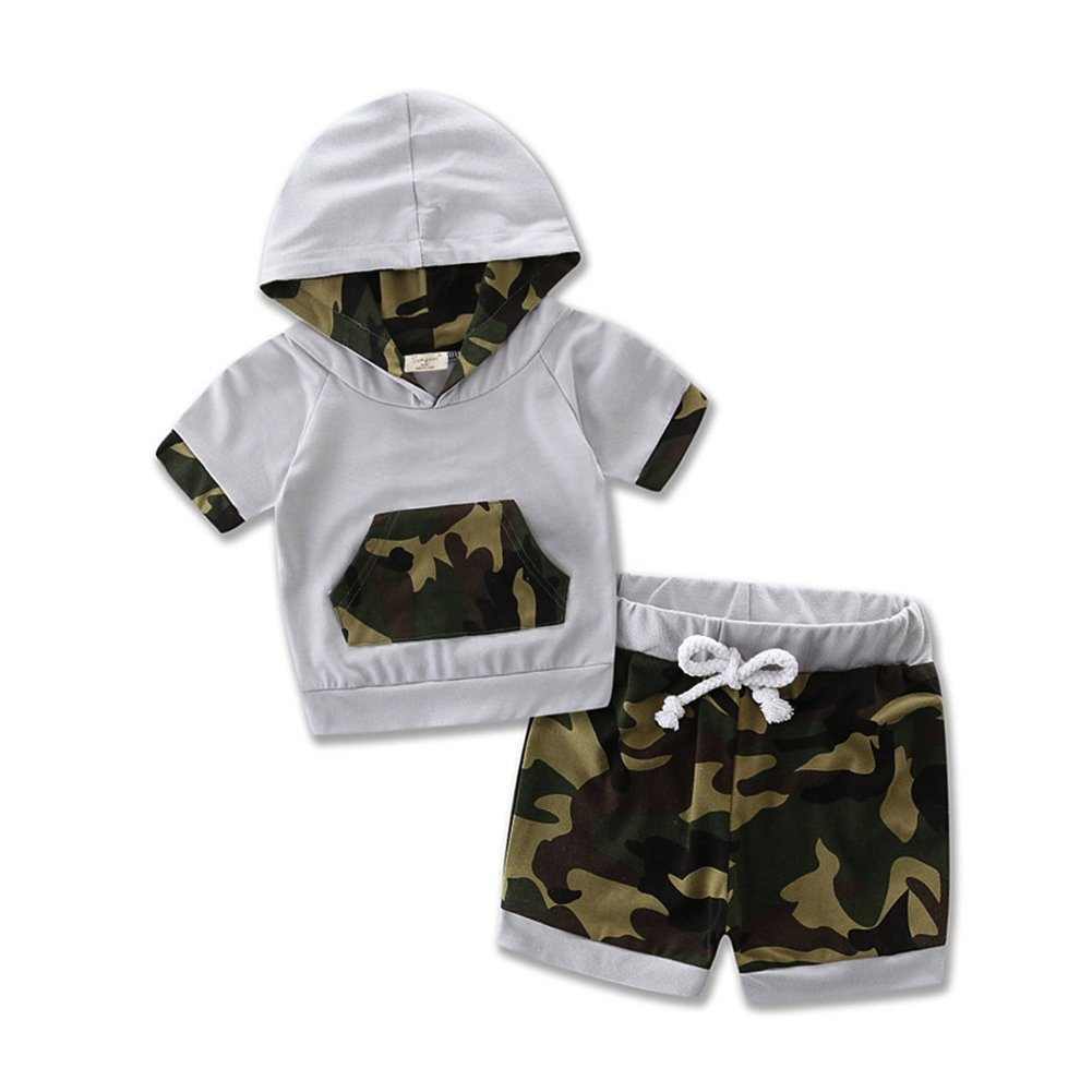 Baby Boys 2pcs Outfit Camo Hooded Vest T Shirt Tops with Pocket+ Shorts Set