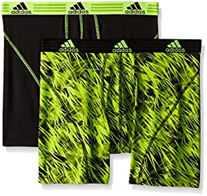 adidas Men's Sport Performance Climalite Boxer Brief Underwear (2 Pack), Semi Solar Slime Draven/Black/Semi Solar Slime, Small/Waist Size 28-30
