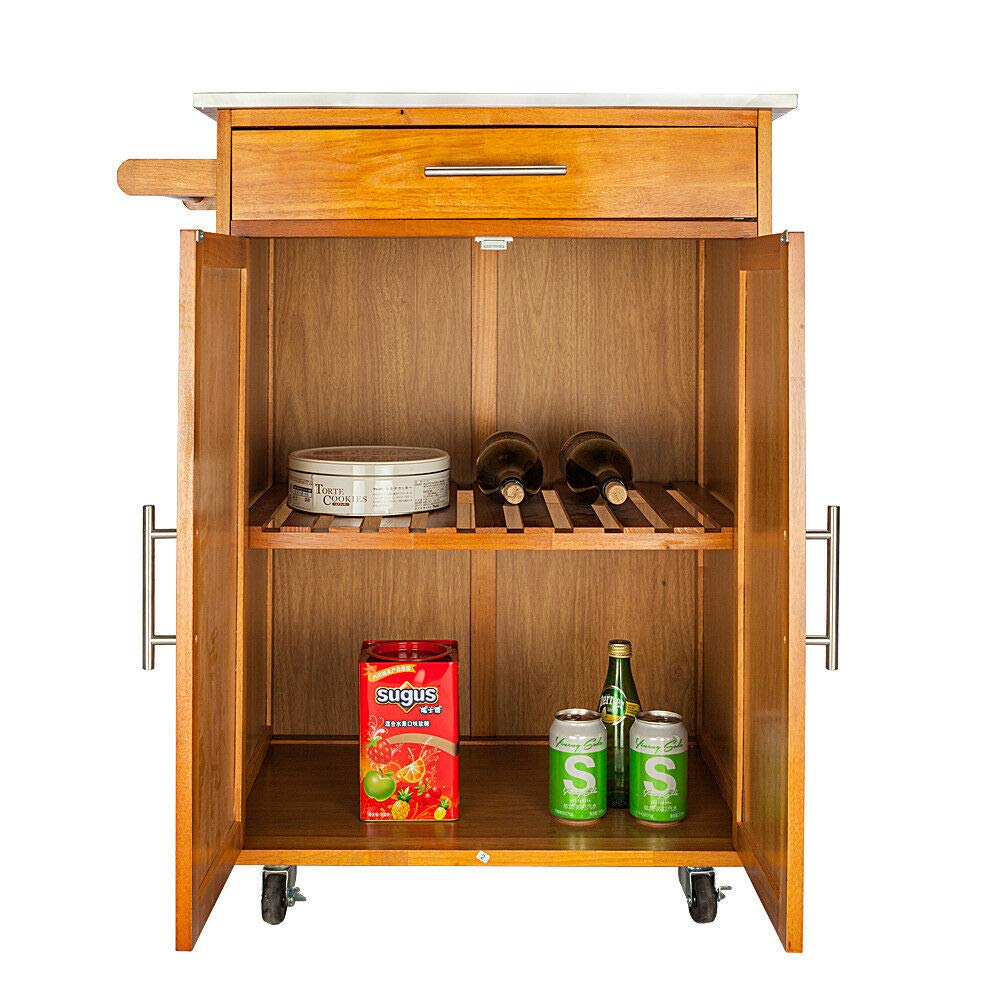 HomVent Kitchen Island Cart,Rolling Dining Table Tray Wooden Serving Stand Kitchen Trolley Storage Cabinet with Stainless Steel Table Top & One Drawer & One Cabinet On Wheels