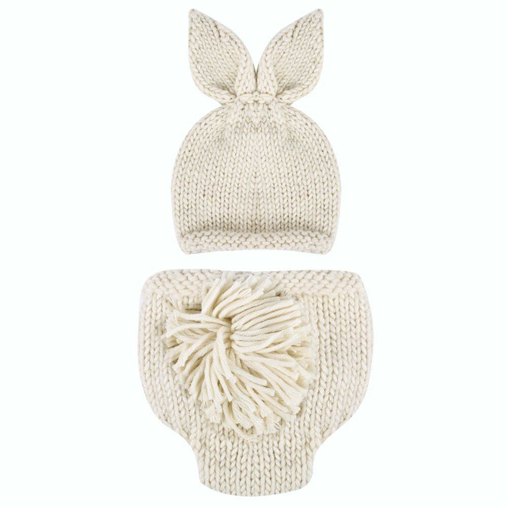 Easydeal Newborn Baby Boy Girl Handmade Rabbit Outfits Knitted Crochet Photography Props Bunny Hat Pompom Pants Set (3-4M) by Easydeal   B01G6OVH46