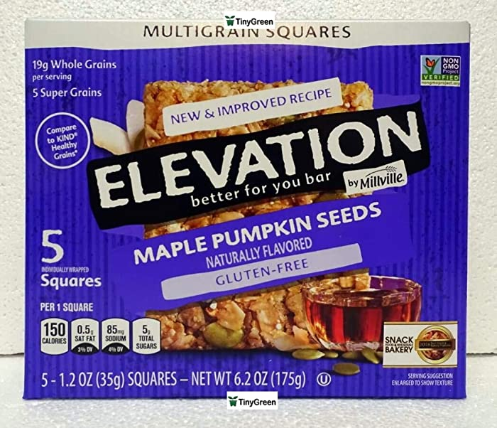 Elevation by Millville Multigrain Squares Maple Pumpkin Seeds New & Improved Recipe 6.2oz 175g