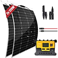 200W kit de Panel Solar 2pcs 120w módulo flexible monocristalino 20A controlador para barco, automóvil, embarcaciones…