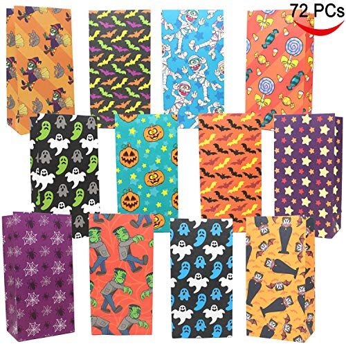 JOYIN 72 Pack of Halloween Bags; 12 Assorted Designs Paper Treat Bags for Classroom Treat Bags Halloween Party Favors Giveaway, Trick or Treating Candy Bags, Holiday Gift Goodie Bags -