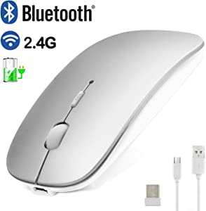 Bluetooth Wireless Mouse,2.4GHz Dual Mode Rechargeable Slim Silent Mouse,3 Adjustable DPI,Bluetooth Mouse for Laptop/PC/MacBook pro/iPad OS 13/Support MacBook Air/Desktop/iPhone/Windows Linux