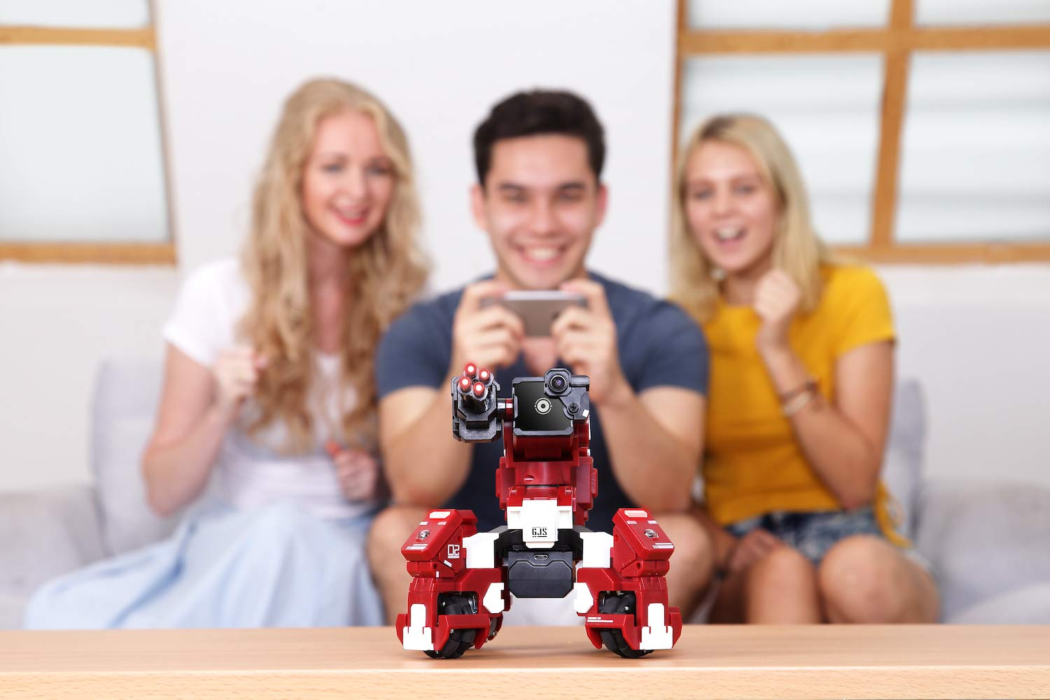 GJS Robot - GEIO App-Enabled Augmented Reality Gaming Robot with High Speed Motion System, Multi-Player Battle Mode and STEM Coding Interface, Red by GJS Robot (Image #5)