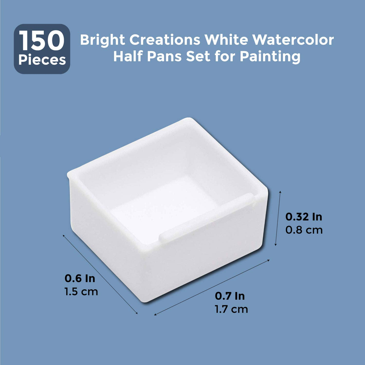 Set of 150 Bright Creations White Watercolor Half Pans Set for Painting