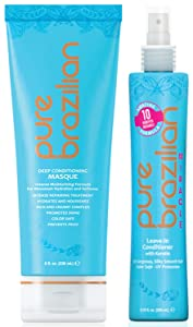 PURE BRAZILIAN - Deep Conditioning Set, Deep Conditioning Mask (8oz) & Leave In Conditioner (6.78oz) made with essential nutrients to promote Anti-Frizz, Split-End Damage Repair, and Hydrating Hair