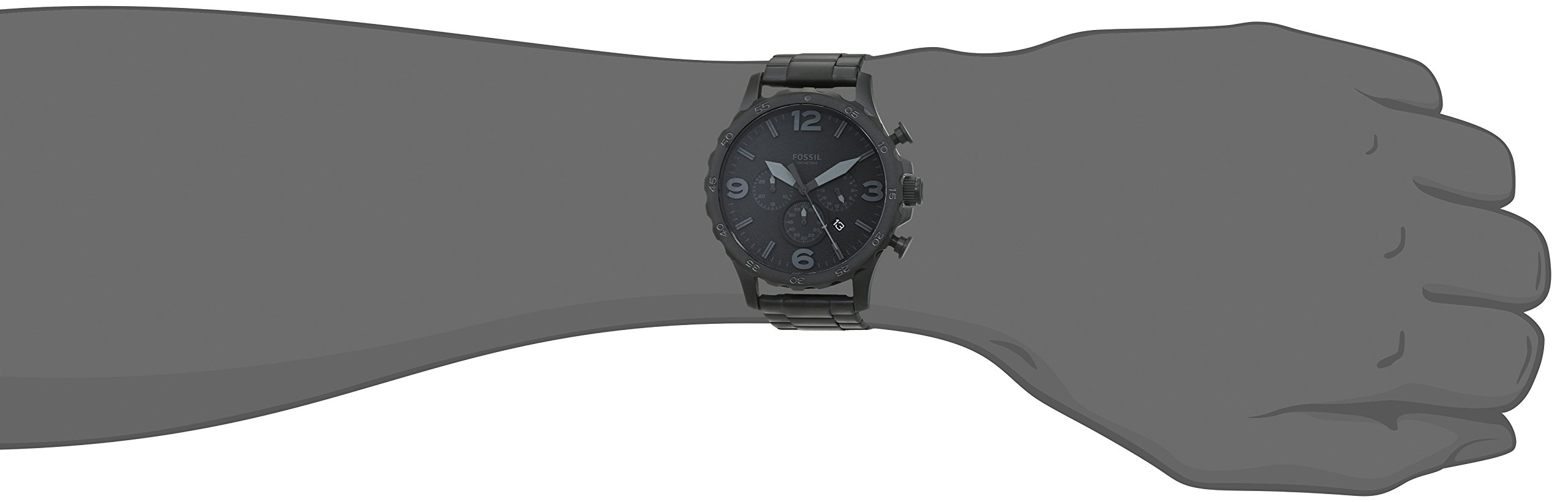 Fossil Men's Nate Quartz Stainless Steel Chronograph Watch, Color: Black (Model: JR1401) by Fossil (Image #4)