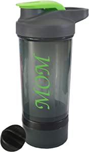 Mom Shaker Bottle Protein Powder Cute Blender Bottle Portable Mixer with Blender Ball Gym Water and Beverage (with Removable Storage for Powder) Loop Top Hand Blender Workout Bottle 16oz 500m