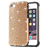 iPhone SE Case, Tendlin Luxury Hybrid Glitter Bling Crystal [Drop Proof] Soft TPU Bumper [Shock Proof] Shiny Sparkle Beauty Case for iPhone SE & iPhone 5S / 5 (Gold)